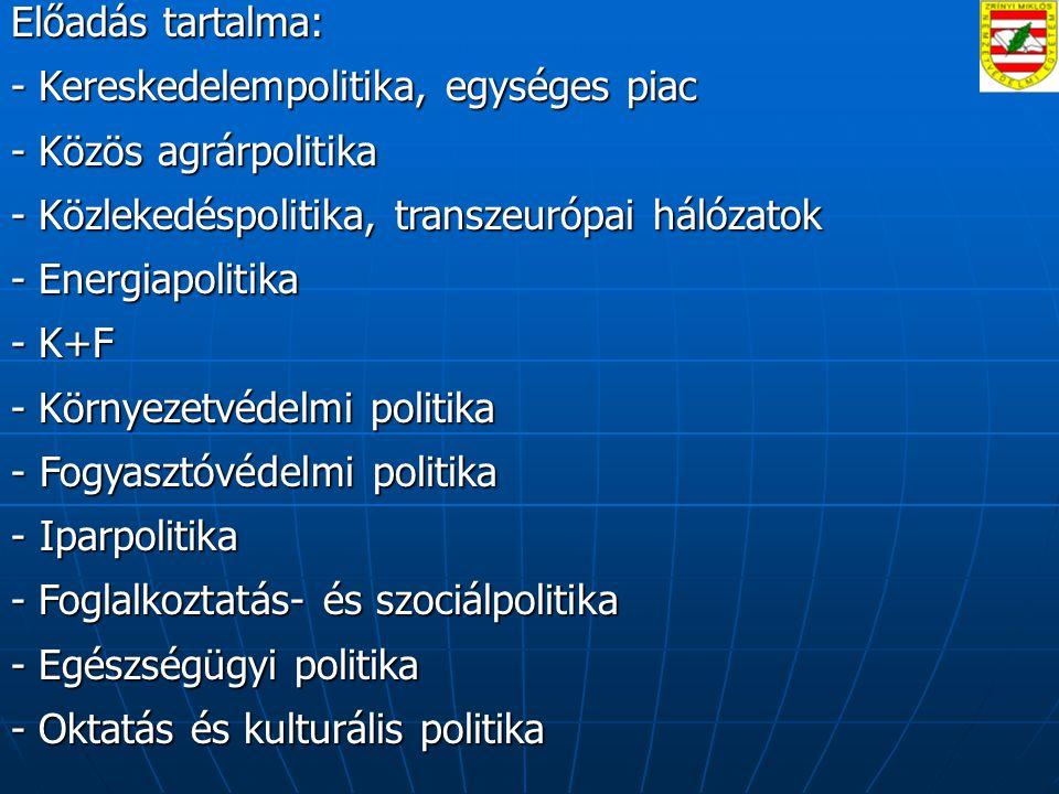 Előadás tartalma: - Kereskedelempolitika, egységes piac - Közös agrárpolitika - Közlekedéspolitika, transzeurópai hálózatok - Energiapolitika - K+F - Környezetvédelmi politika - Fogyasztóvédelmi politika - Iparpolitika - Foglalkoztatás- és szociálpolitika - Egészségügyi politika - Oktatás és kulturális politika