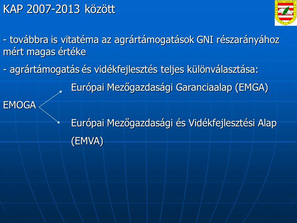 KAP 2007-2013 között - továbbra is vitatéma az agrártámogatások GNI részarányához mért magas értéke - agrártámogatás és vidékfejlesztés teljes különválasztása: Európai Mezőgazdasági Garanciaalap (EMGA) Európai Mezőgazdasági Garanciaalap (EMGA)EMOGA Európai Mezőgazdasági és Vidékfejlesztési Alap Európai Mezőgazdasági és Vidékfejlesztési Alap (EMVA) (EMVA)