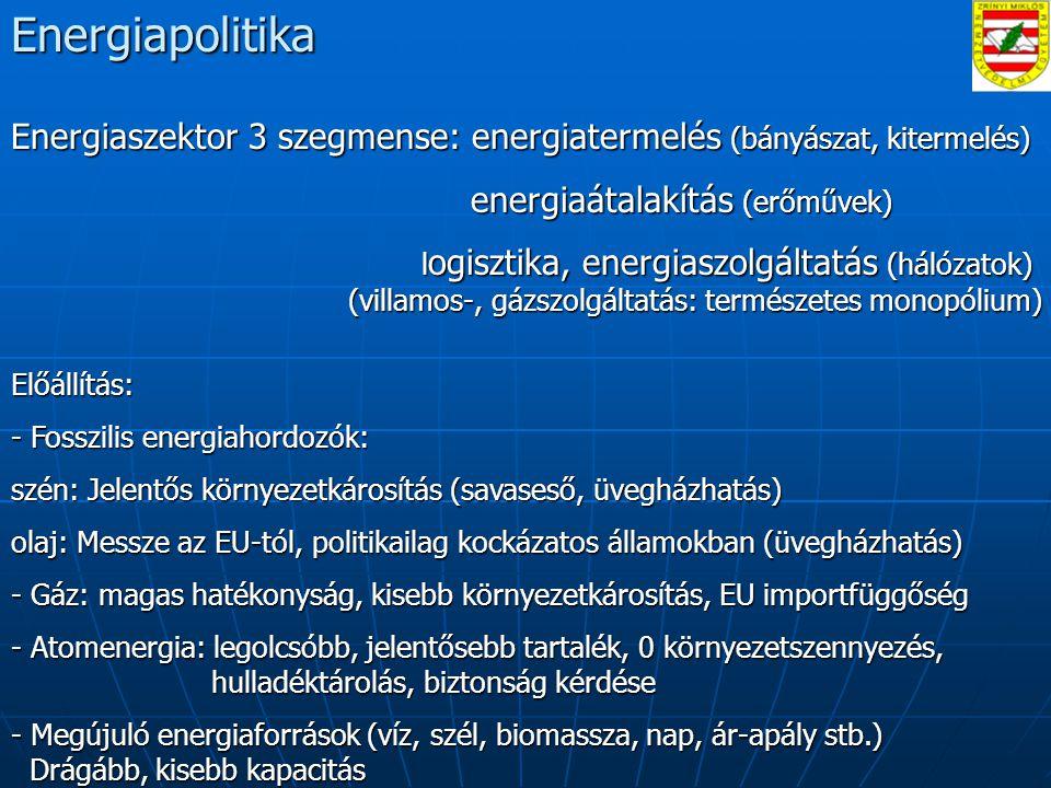 Energiapolitika Energiaszektor 3 szegmense: energiatermelés (bányászat, kitermelés) energiaátalakítás (erőművek) energiaátalakítás (erőművek) l ogisztika, energiaszolgáltatás (hálózatok) (villamos-, gázszolgáltatás: természetes monopólium) l ogisztika, energiaszolgáltatás (hálózatok) (villamos-, gázszolgáltatás: természetes monopólium)Előállítás: - Fosszilis energiahordozók: szén: Jelentős környezetkárosítás (savaseső, üvegházhatás) olaj: Messze az EU-tól, politikailag kockázatos államokban (üvegházhatás) - Gáz: magas hatékonyság, kisebb környezetkárosítás, EU importfüggőség - Atomenergia: legolcsóbb, jelentősebb tartalék, 0 környezetszennyezés, hulladéktárolás, biztonság kérdése - Megújuló energiaforrások (víz, szél, biomassza, nap, ár-apály stb.) Drágább, kisebb kapacitás