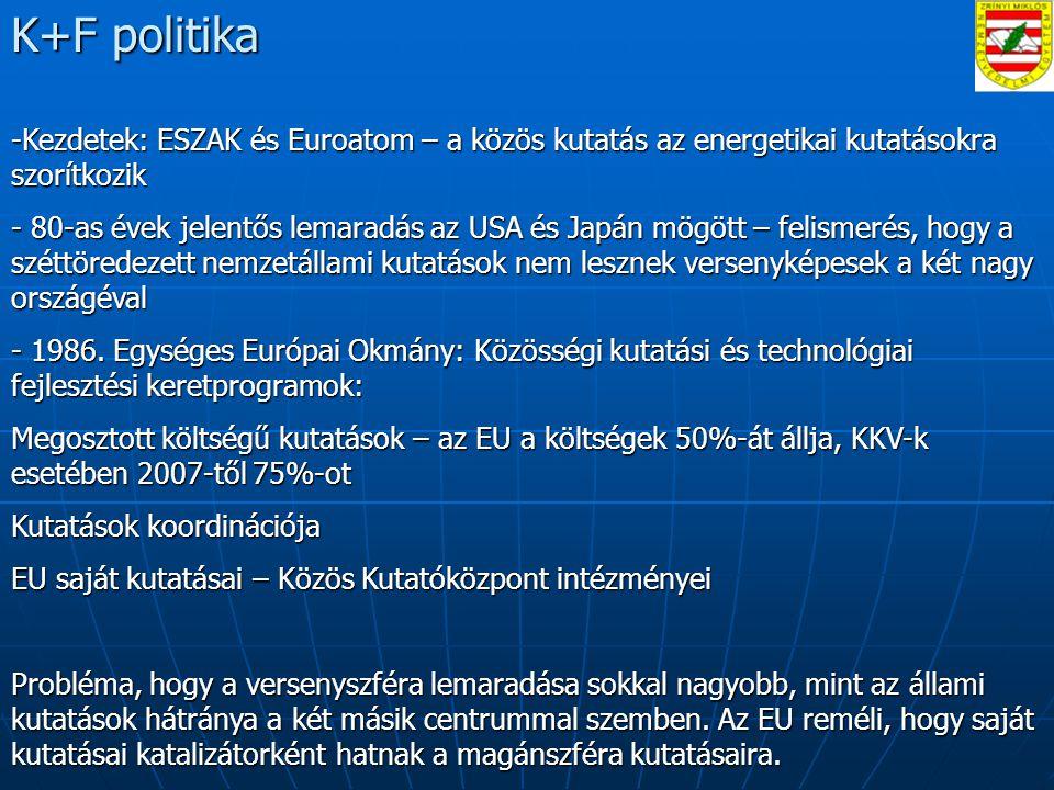 K+F politika -Kezdetek: ESZAK és Euroatom – a közös kutatás az energetikai kutatásokra szorítkozik - 80-as évek jelentős lemaradás az USA és Japán mögött – felismerés, hogy a széttöredezett nemzetállami kutatások nem lesznek versenyképesek a két nagy országéval - 1986.