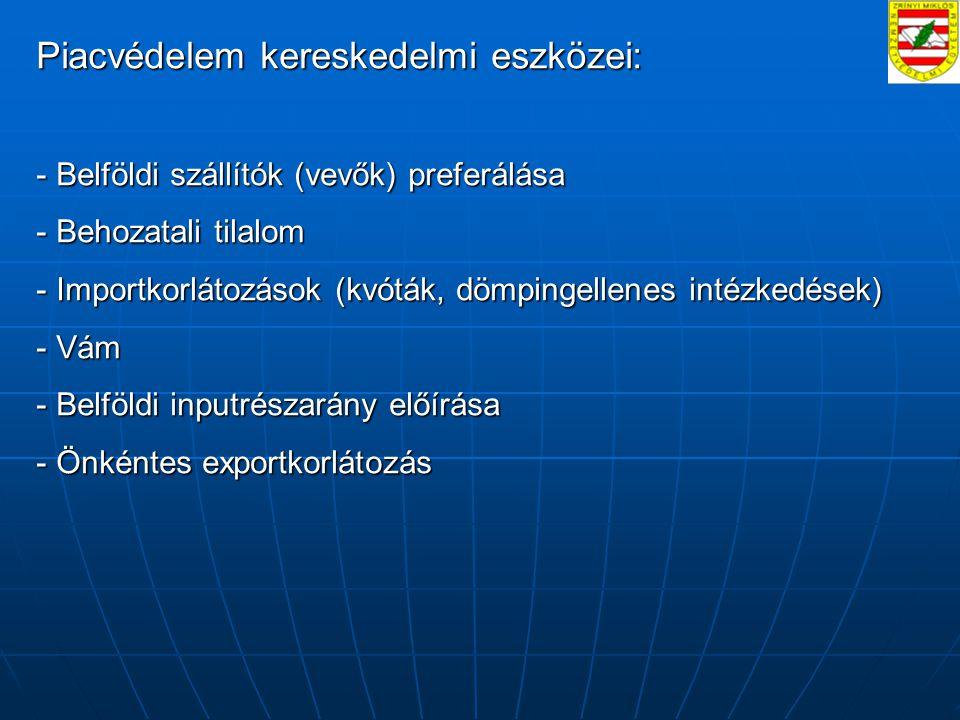 Piacvédelem kereskedelmi eszközei: - Belföldi szállítók (vevők) preferálása - Behozatali tilalom - Importkorlátozások (kvóták, dömpingellenes intézkedések) - Vám - Belföldi inputrészarány előírása - Önkéntes exportkorlátozás