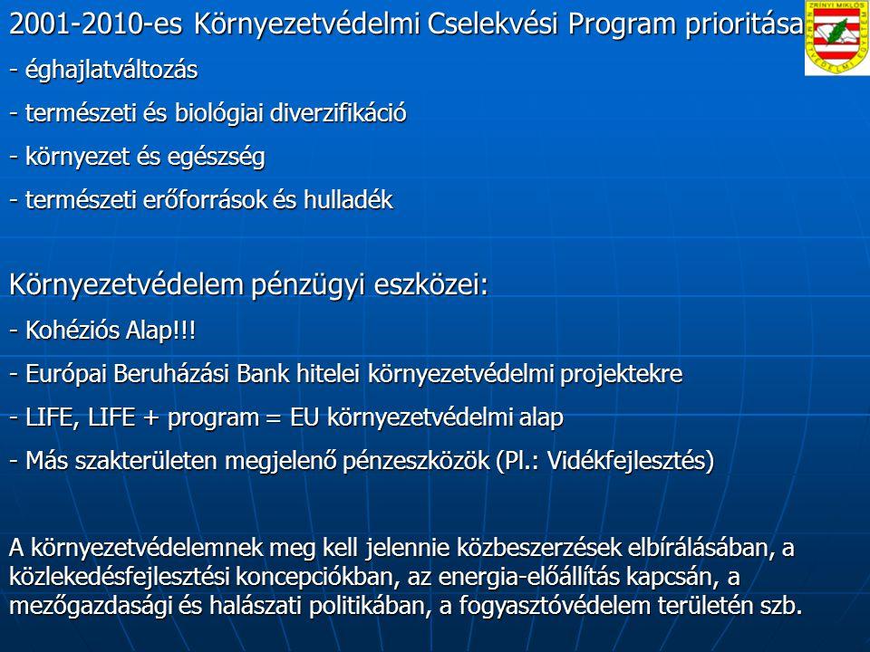2001-2010-es Környezetvédelmi Cselekvési Program prioritásai: - éghajlatváltozás - természeti és biológiai diverzifikáció - környezet és egészség - természeti erőforrások és hulladék Környezetvédelem pénzügyi eszközei: - Kohéziós Alap!!.