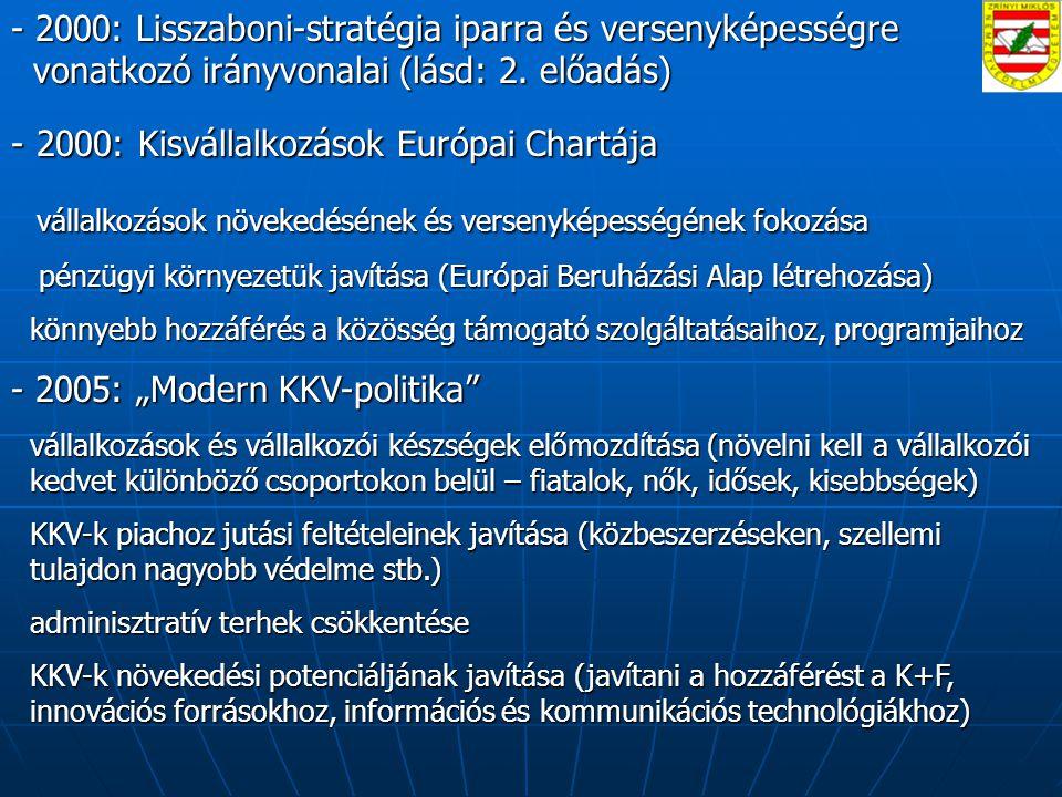 - 2000: Lisszaboni-stratégia iparra és versenyképességre vonatkozó irányvonalai (lásd: 2.