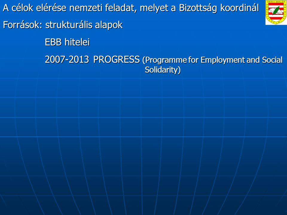 A célok elérése nemzeti feladat, melyet a Bizottság koordinál Források: strukturális alapok EBB hitelei EBB hitelei 2007-2013 PROGRESS (Programme for Employment and Social Solidarity) 2007-2013 PROGRESS (Programme for Employment and Social Solidarity)