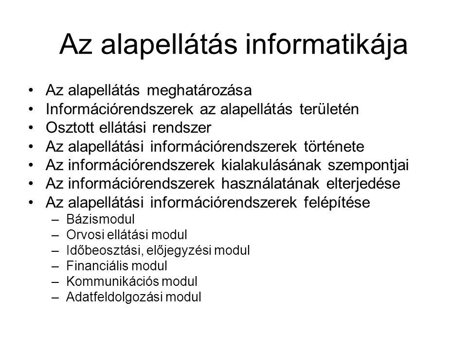 Az alapellátás informatikája Az alapellátás meghatározása Információrendszerek az alapellátás területén Osztott ellátási rendszer Az alapellátási info