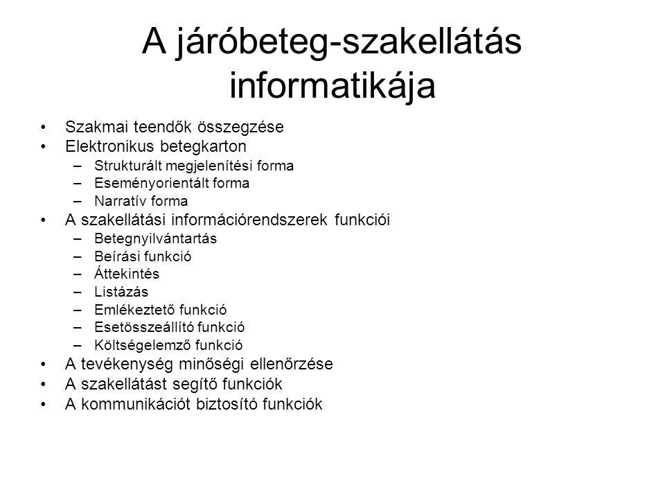 A járóbeteg-szakellátás informatikája Szakmai teendők összegzése Elektronikus betegkarton –Strukturált megjelenítési forma –Eseményorientált forma –Na