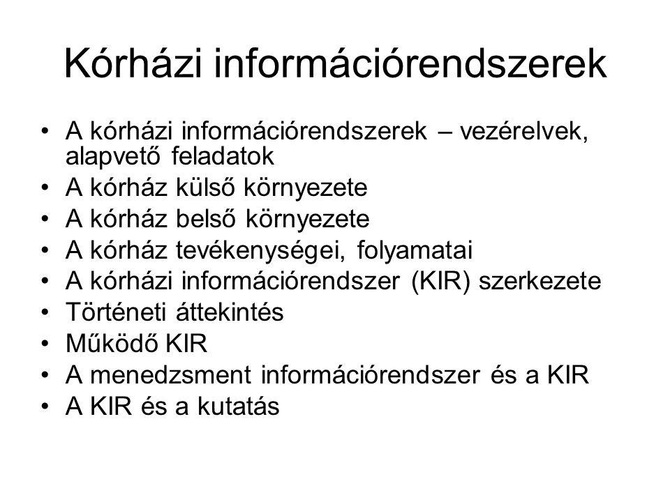 Kórházi információrendszerek A kórházi információrendszerek – vezérelvek, alapvető feladatok A kórház külső környezete A kórház belső környezete A kór