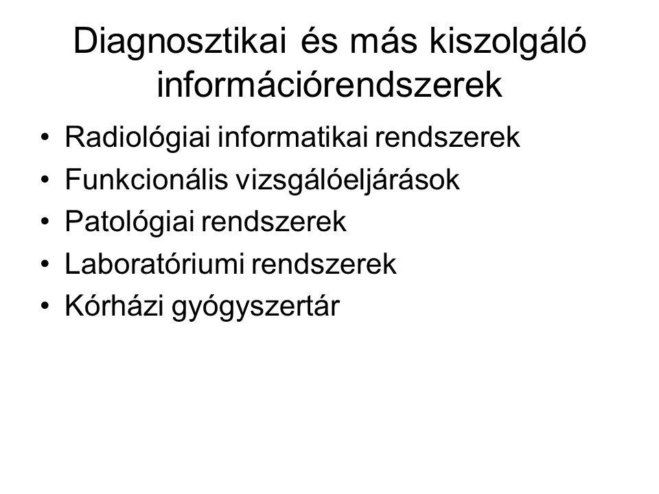 Diagnosztikai és más kiszolgáló információrendszerek Radiológiai informatikai rendszerek Funkcionális vizsgálóeljárások Patológiai rendszerek Laborató