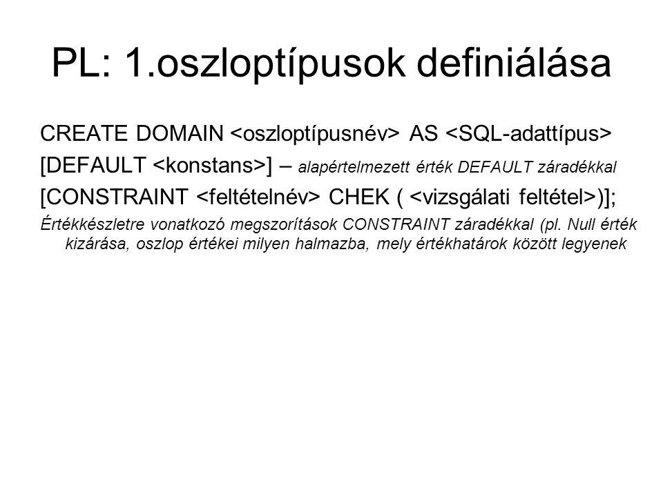 PL: 1.oszloptípusok definiálása CREATE DOMAIN AS [DEFAULT ] – alapértelmezett érték DEFAULT záradékkal [CONSTRAINT CHEK ( )]; Értékkészletre vonatkozó megszorítások CONSTRAINT záradékkal (pl.