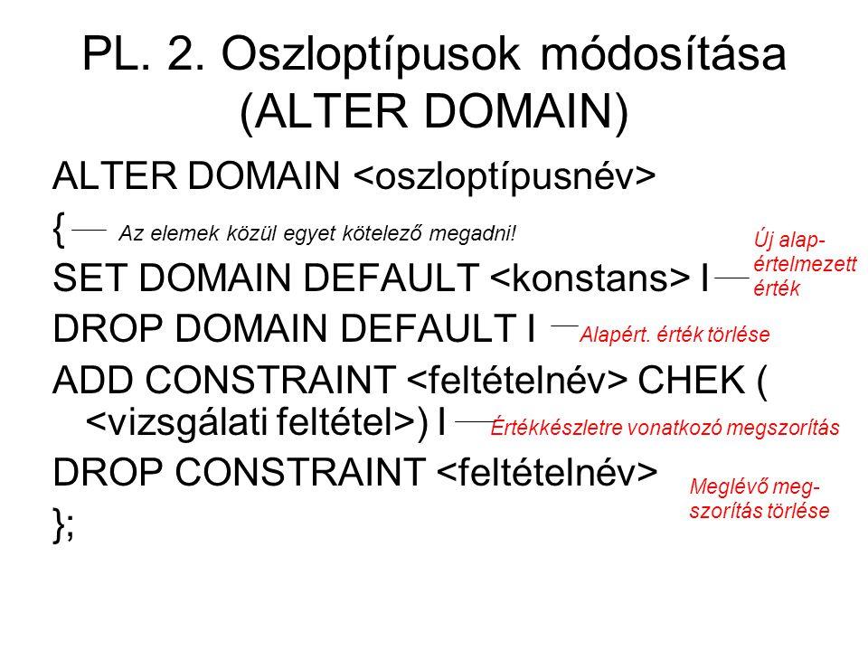 PL. 2. Oszloptípusok módosítása (ALTER DOMAIN) ALTER DOMAIN { Az elemek közül egyet kötelező megadni! SET DOMAIN DEFAULT I DROP DOMAIN DEFAULT I Alapé