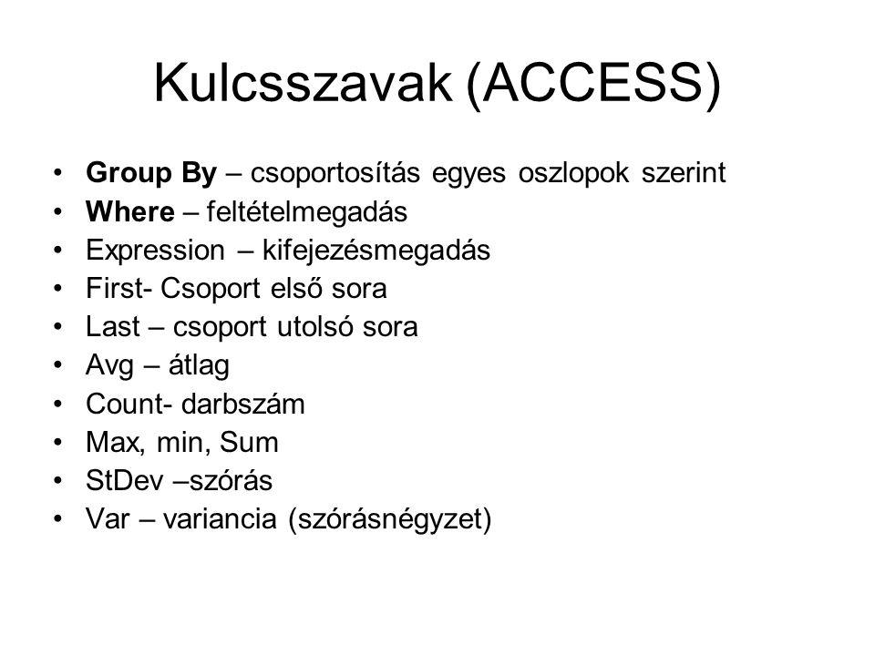 Kulcsszavak (ACCESS) Group By – csoportosítás egyes oszlopok szerint Where – feltételmegadás Expression – kifejezésmegadás First- Csoport első sora La