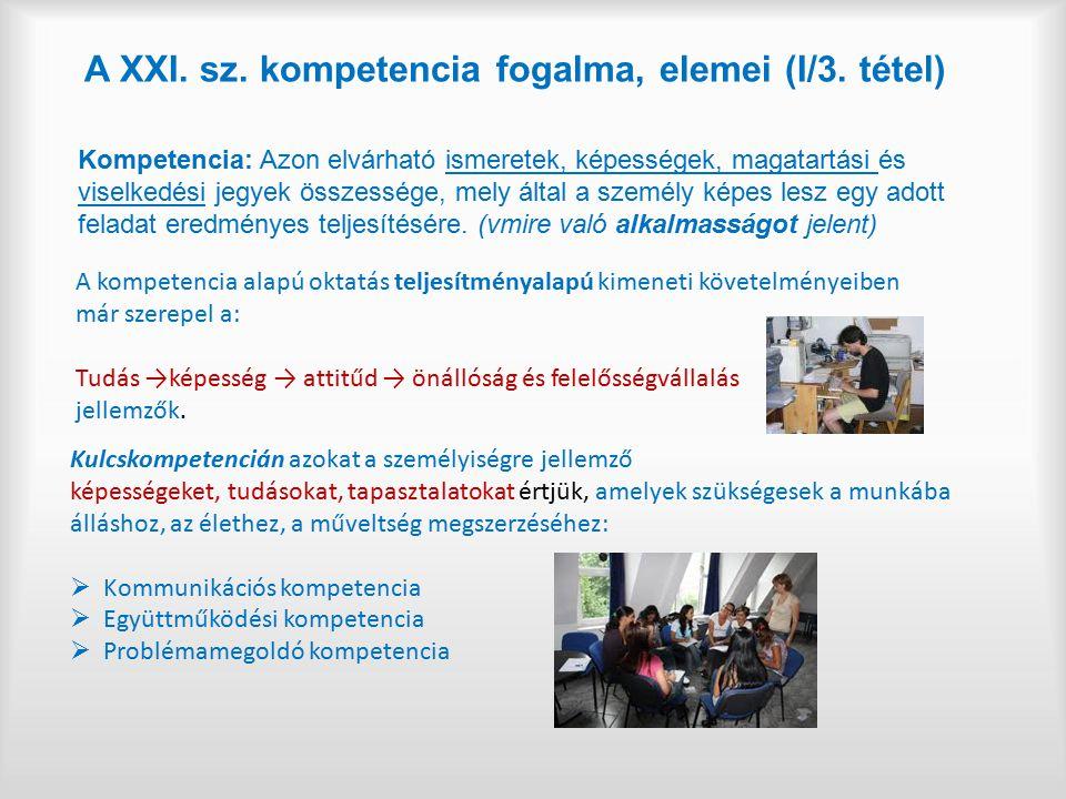 A XXI. sz. kompetencia fogalma, elemei (I/3. tétel) Kompetencia: Azon elvárható ismeretek, képességek, magatartási és viselkedési jegyek összessége, m