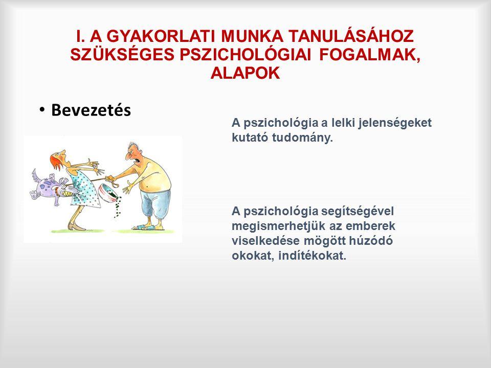 I. A GYAKORLATI MUNKA TANULÁSÁHOZ SZÜKSÉGES PSZICHOLÓGIAI FOGALMAK, ALAPOK Bevezetés A pszichológia a lelki jelenségeket kutató tudomány. A pszichológ