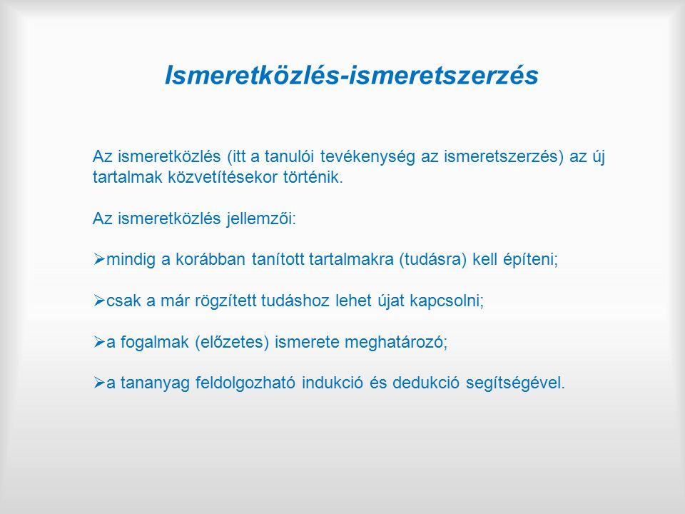 Ismeretközlés-ismeretszerzés Az ismeretközlés (itt a tanulói tevékenység az ismeretszerzés) az új tartalmak közvetítésekor történik. Az ismeretközlés