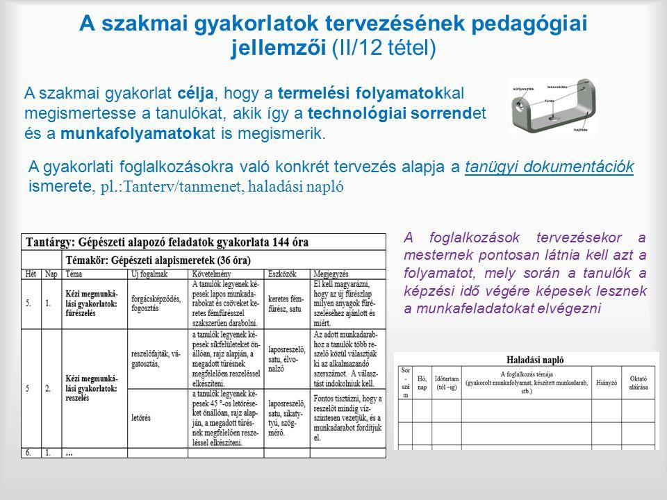 A szakmai gyakorlatok tervezésének pedagógiai jellemzői (II/12 tétel) A szakmai gyakorlat célja, hogy a termelési folyamatokkal megismertesse a tanuló