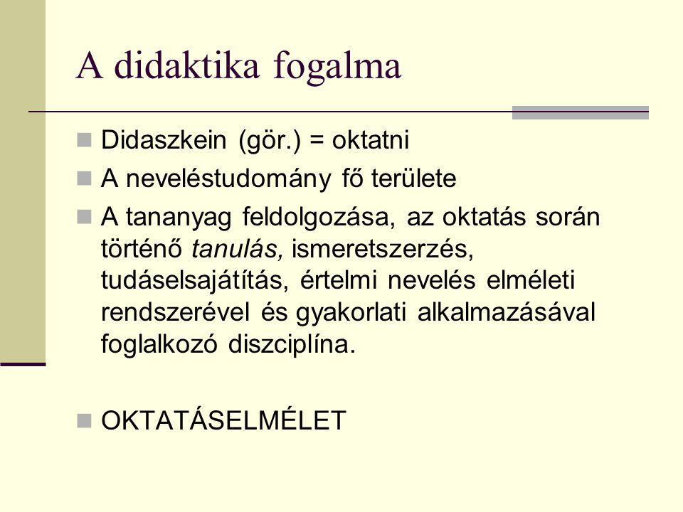 A didaktika fogalma Didaszkein (gör.) = oktatni A neveléstudomány fő területe A tananyag feldolgozása, az oktatás során történő tanulás, ismeretszerzé