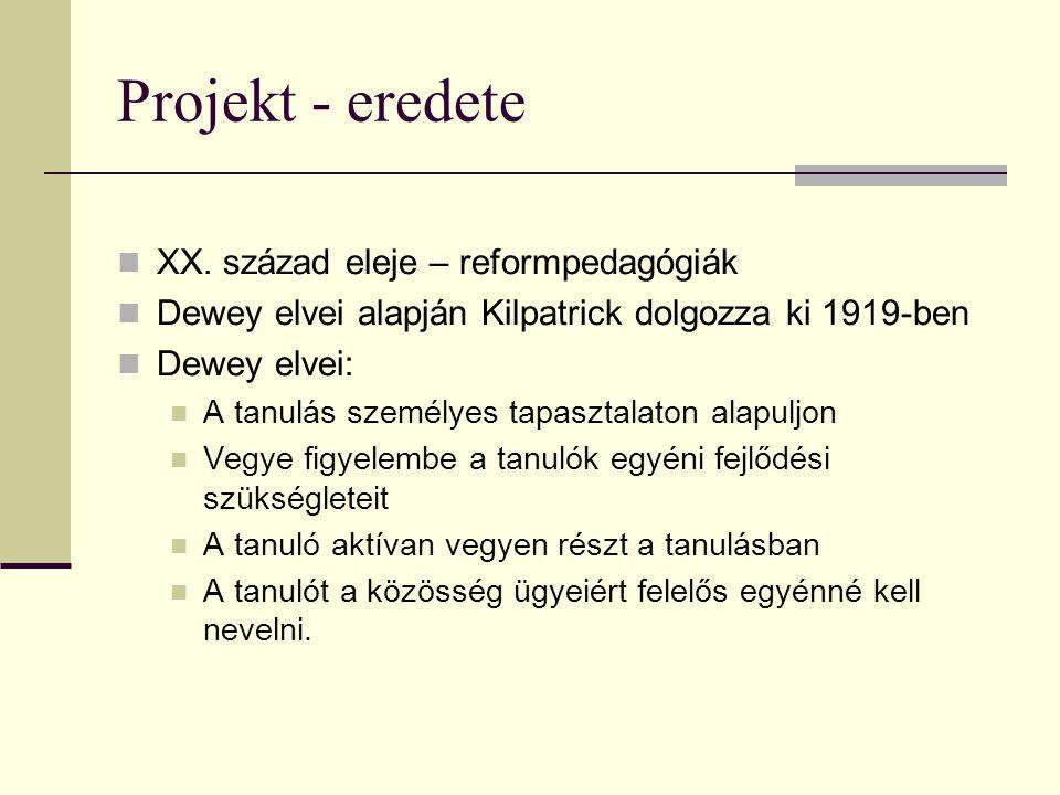 Projekt - eredete XX. század eleje – reformpedagógiák Dewey elvei alapján Kilpatrick dolgozza ki 1919-ben Dewey elvei: A tanulás személyes tapasztalat