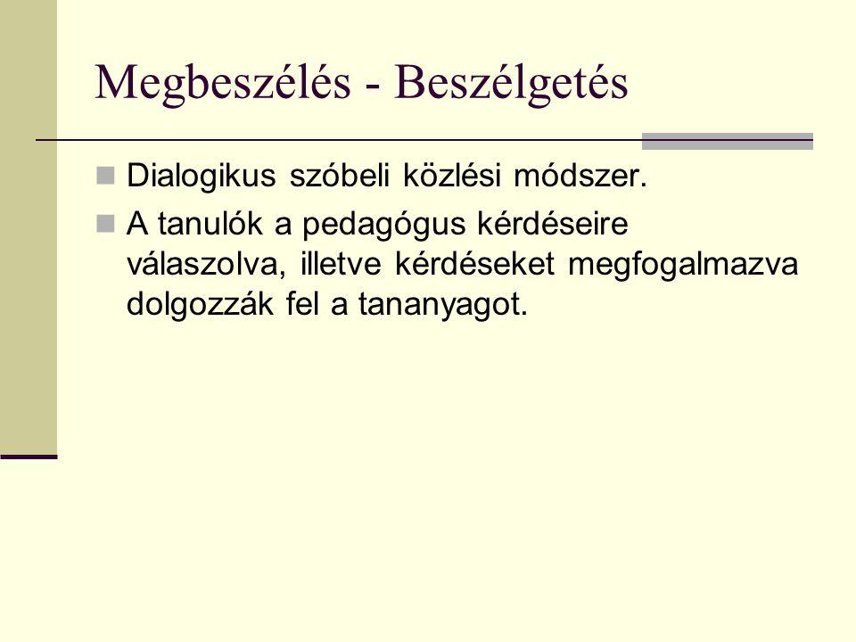 Megbeszélés - Beszélgetés Dialogikus szóbeli közlési módszer. A tanulók a pedagógus kérdéseire válaszolva, illetve kérdéseket megfogalmazva dolgozzák