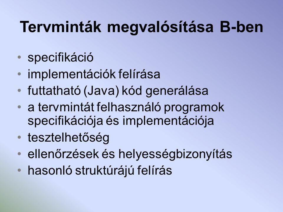 Tervminták megvalósítása B-ben specifikáció implementációk felírása futtatható (Java) kód generálása a tervmintát felhasználó programok specifikációja és implementációja tesztelhetőség ellenőrzések és helyességbizonyítás hasonló struktúrájú felírás
