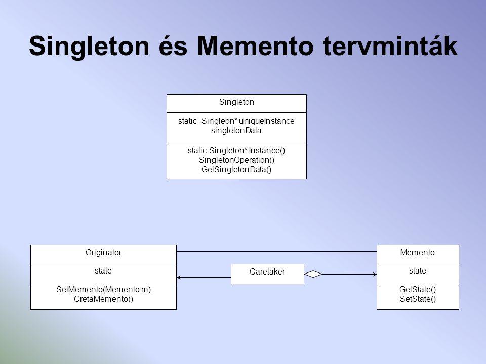 Singleton és Memento tervminták Singleton static Singleon* uniqueInstance singletonData static Singleton* Instance() SingletonOperation() GetSingletonData() Originator state SetMemento(Memento m) CretaMemento() Memento state GetState() SetState() Caretaker