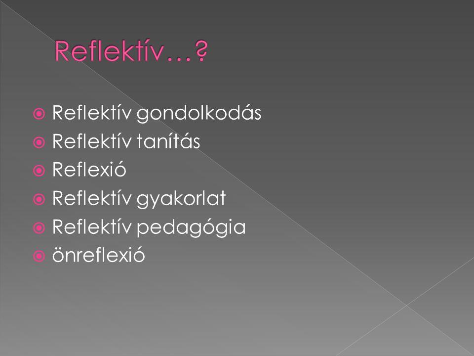  Reflektív gondolkodás  Reflektív tanítás  Reflexió  Reflektív gyakorlat  Reflektív pedagógia  önreflexió
