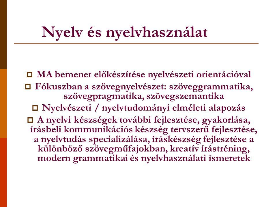 Nyelv és nyelvhasználat  MA bemenet előkészítése nyelvészeti orientációval  Fókuszban a szövegnyelvészet: szöveggrammatika, szövegpragmatika, szövegszemantika  Nyelvészeti / nyelvtudományi elméleti alapozás  A nyelvi készségek további fejlesztése, gyakorlása, írásbeli kommunikációs készség tervszerű fejlesztése, a nyelvtudás specializálása, íráskészség fejlesztése a különböző szövegműfajokban, kreatív írástréning, modern grammatikai és nyelvhasználati ismeretek