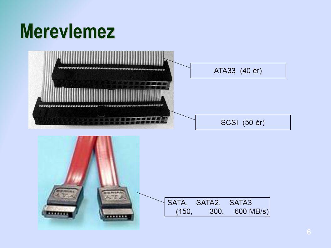 Merevlemez ATA33 (40 ér)SCSI (50 ér) SATA, SATA2, SATA3 (150, 300, 600 MB/s) 6