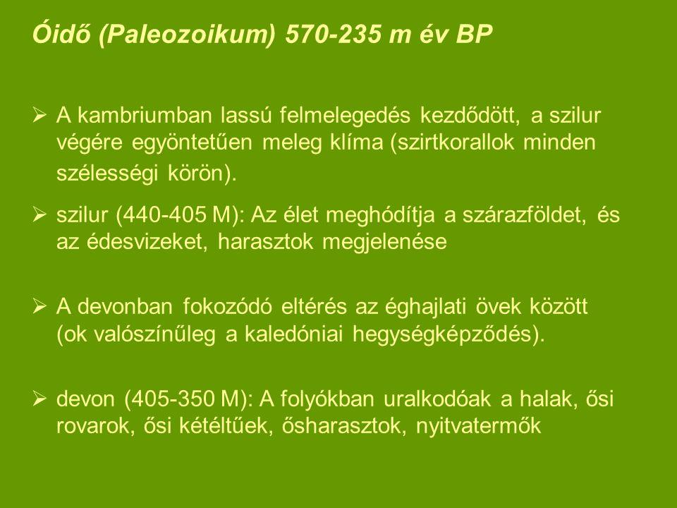 Óidő (Paleozoikum) 570-235 m év BP  A kambriumban lassú felmelegedés kezdődött, a szilur végére egyöntetűen meleg klíma (szirtkorallok minden széless