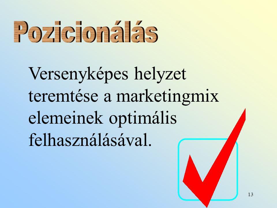 13 Versenyképes helyzet teremtése a marketingmix elemeinek optimális felhasználásával.