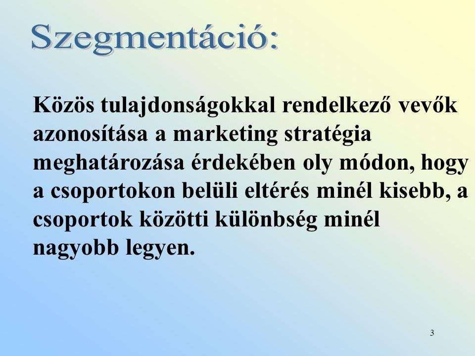 3 Közös tulajdonságokkal rendelkező vevők azonosítása a marketing stratégia meghatározása érdekében oly módon, hogy a csoportokon belüli eltérés minél kisebb, a csoportok közötti különbség minél nagyobb legyen.