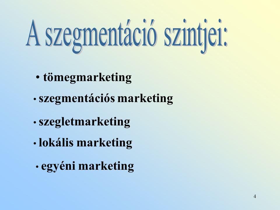 4 tömegmarketing szegmentációs marketing szegletmarketing lokális marketing egyéni marketing