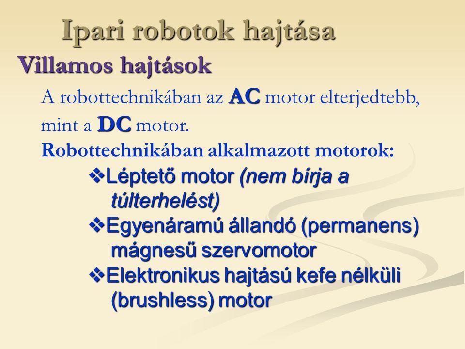 Ipari robotok hajtása Villamos hajtások AC DC A robottechnikában az AC motor elterjedtebb, mint a DC motor. Robottechnikában alkalmazott motorok:  Lé