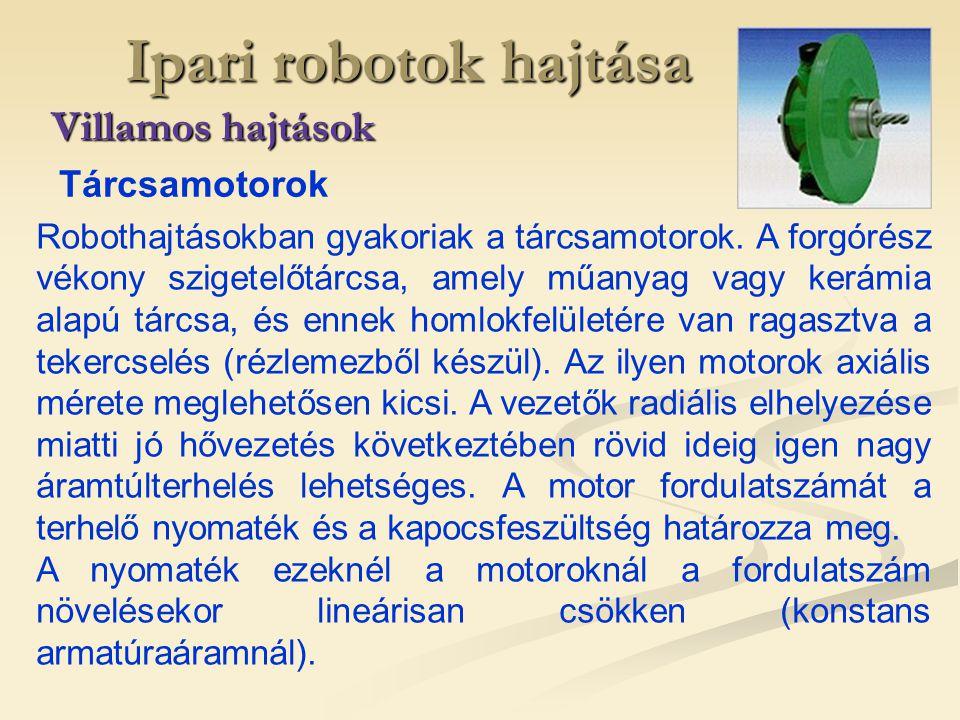 Ipari robotok hajtása Villamos hajtások Robothajtásokban gyakoriak a tárcsamotorok. A forgórész vékony szigetelőtárcsa, amely műanyag vagy kerámia ala