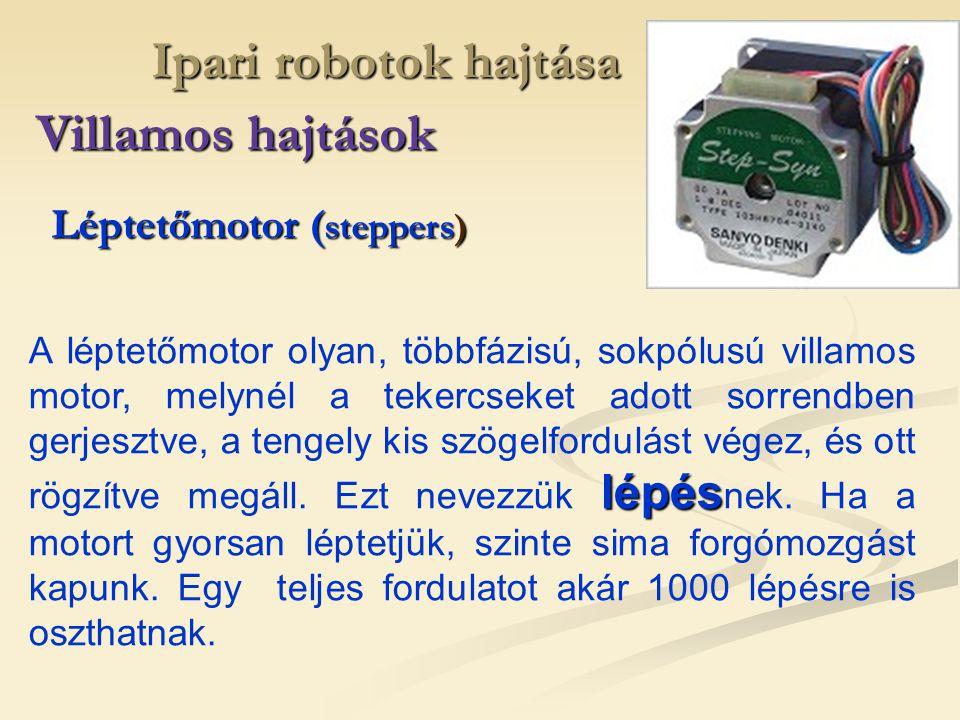 Ipari robotok hajtása Villamos hajtások Léptetőmotor ( steppers) lépés A léptetőmotor olyan, többfázisú, sokpólusú villamos motor, melynél a tekercsek