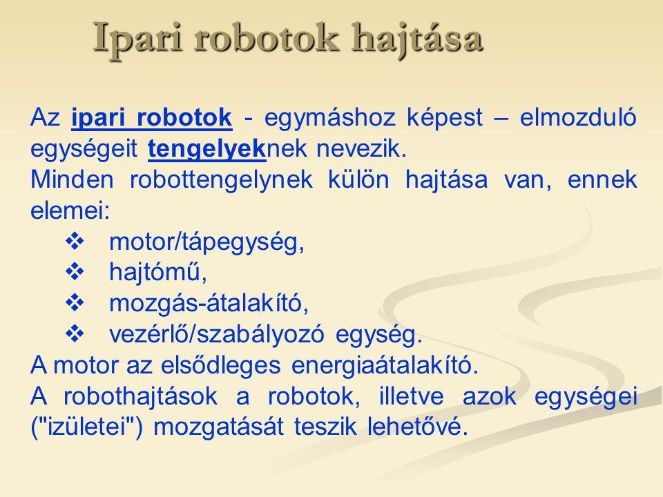 Ipari robotok hajtása Hidraulikus hajtások A szivattyú és a motor folyadékigényének összehangolására három módszer használatos:  Változtatható fordulatszámú elektromotor (például egyenáramú szervomotor) alkalmazása (gazdasági szempontból nem versenyképes megoldás).