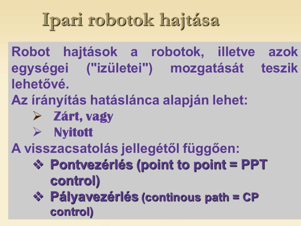"""Ipari robotok hajtása Pontvezérlés (PTP) alatt azt a vezérlést értik, amelynél a robot vezérelt TCP pontját a munkatér adott pontjaiba kell eljuttatni, a pozicionálás """"útvonala tetszőleges, csak a célhelyzeteket, a kijelölt pontokat kell nagy pontossággal elérni."""