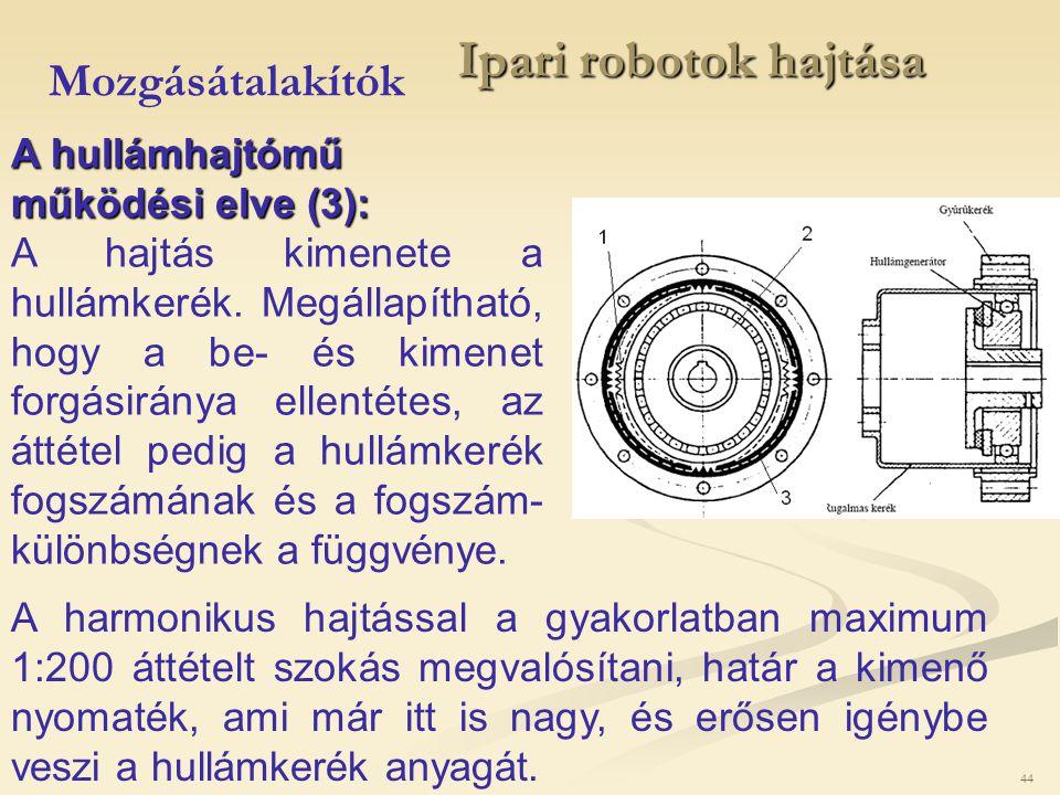 44 Ipari robotok hajtása Mozgásátalakítók A hullámhajtómű működési elve (3): A hajtás kimenete a hullámkerék. Megállapítható, hogy a be- és kimenet fo