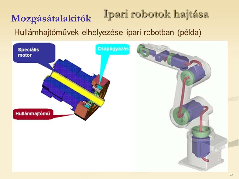 46 Ipari robotok hajtása Mozgásátalakítók Hullámhajtóművek elhelyezése ipari robotban (példa)