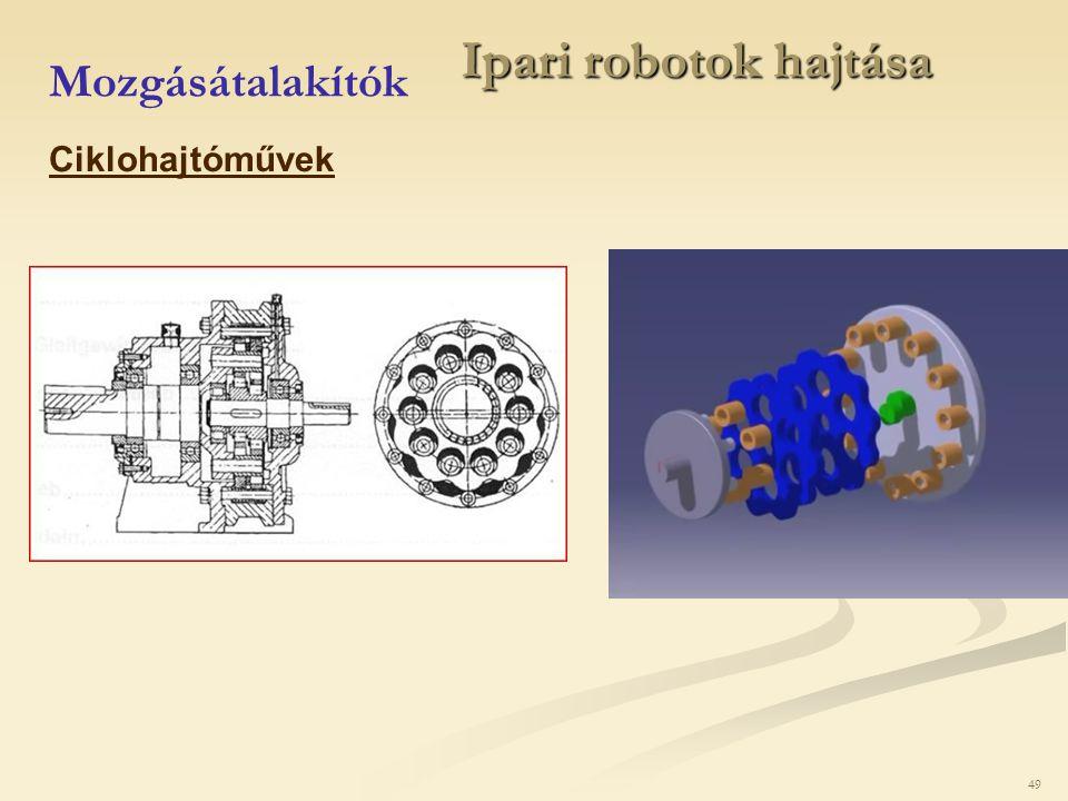 49 Ipari robotok hajtása Mozgásátalakítók Ciklohajtóművek