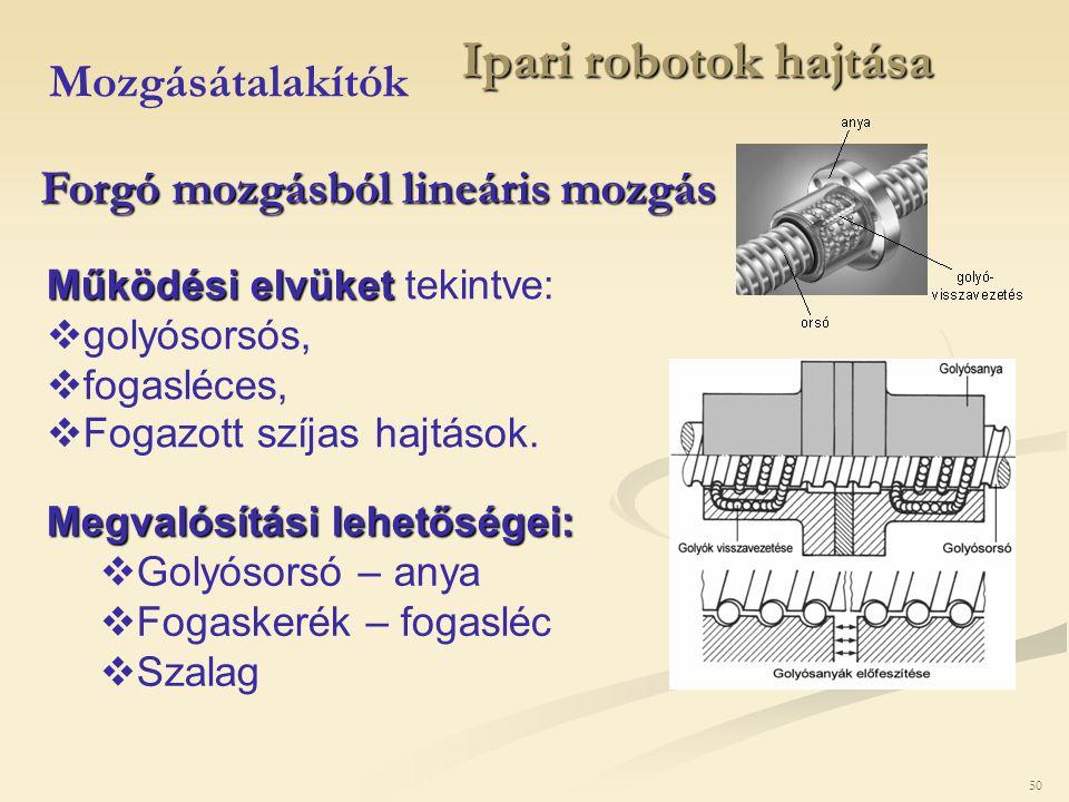 50 Ipari robotok hajtása Mozgásátalakítók Forgó mozgásból lineáris mozgás Működési elvüket Működési elvüket tekintve:  golyósorsós,  fogasléces,  F