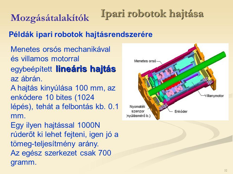 52 Ipari robotok hajtása Mozgásátalakítók Példák ipari robotok hajtásrendszerére lineáris hajtás Menetes orsós mechanikával és villamos motorral egybe