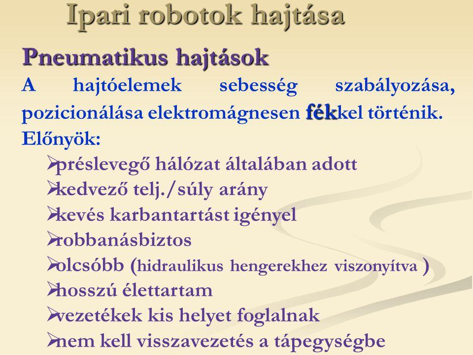 Ipari robotok hajtása Pneumatikus hajtások fék A hajtóelemek sebesség szabályozása, pozicionálása elektromágnesen fék kel történik. Előnyök:  préslev