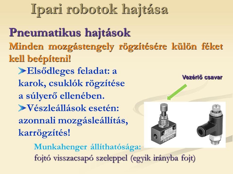 Ipari robotok hajtása Pneumatikus hajtások Minden mozgástengely rögzítésére külön féket kell beépíteni! Elsődleges feladat: a karok, csuklók rögzítése