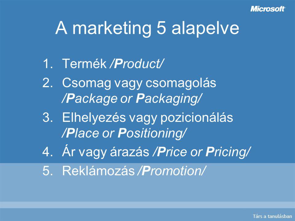 Társ a tanulásban A marketing 5 alapelve 1.Termék /Product/ 2.Csomag vagy csomagolás /Package or Packaging/ 3.Elhelyezés vagy pozicionálás /Place or Positioning/ 4.Ár vagy árazás /Price or Pricing/ 5.Reklámozás /Promotion/