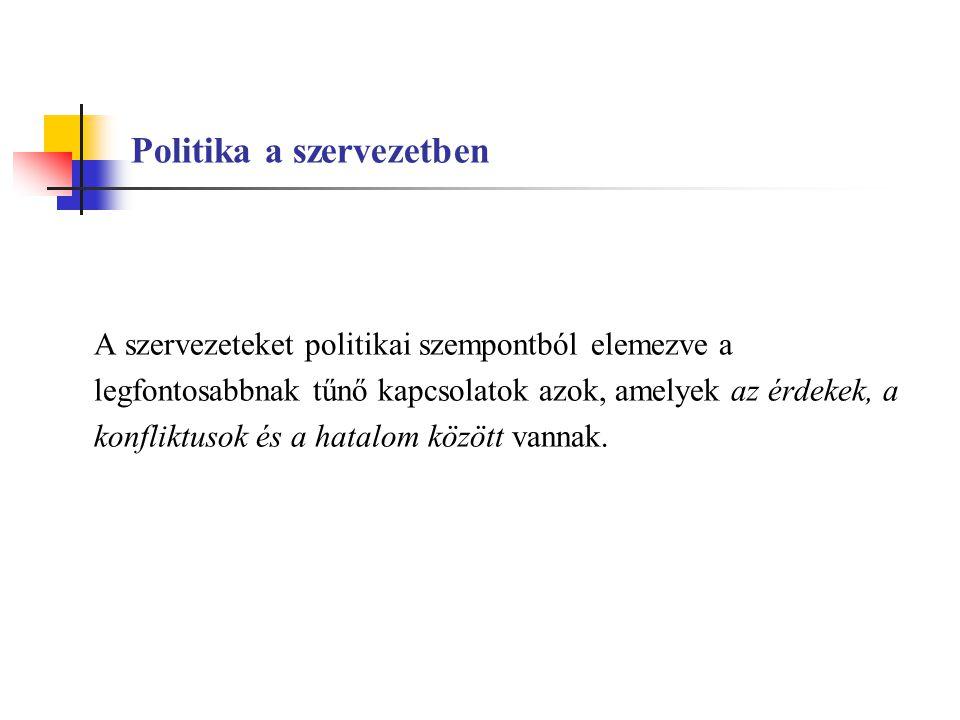 Politika a szervezetben A szervezeteket politikai szempontból elemezve a legfontosabbnak tűnő kapcsolatok azok, amelyek az érdekek, a konfliktusok és