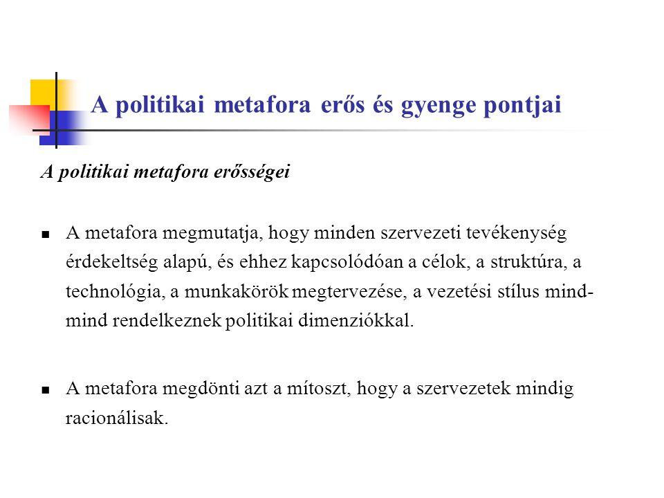 A politikai metafora erős és gyenge pontjai A politikai metafora erősségei A metafora megmutatja, hogy minden szervezeti tevékenység érdekeltség alapú