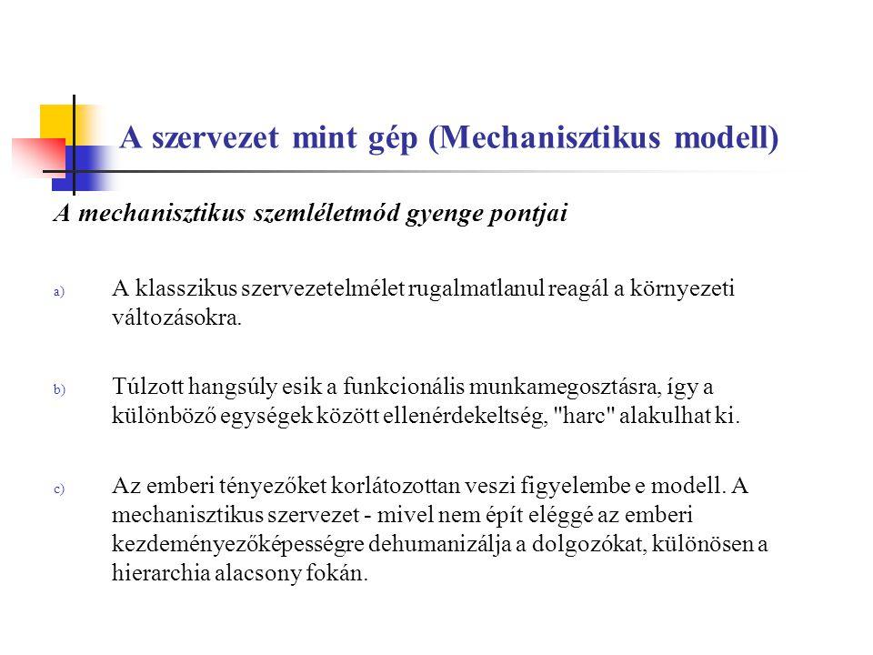 A szervezet mint gép (Mechanisztikus modell) A mechanisztikus szemléletmód gyenge pontjai a) A klasszikus szervezetelmélet rugalmatlanul reagál a körn
