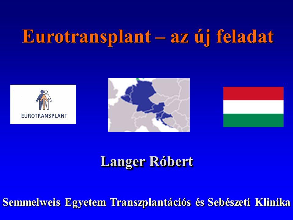 Eurotransplant – az új feladat Langer Róbert Semmelweis Egyetem Transzplantációs és Sebészeti Klinika