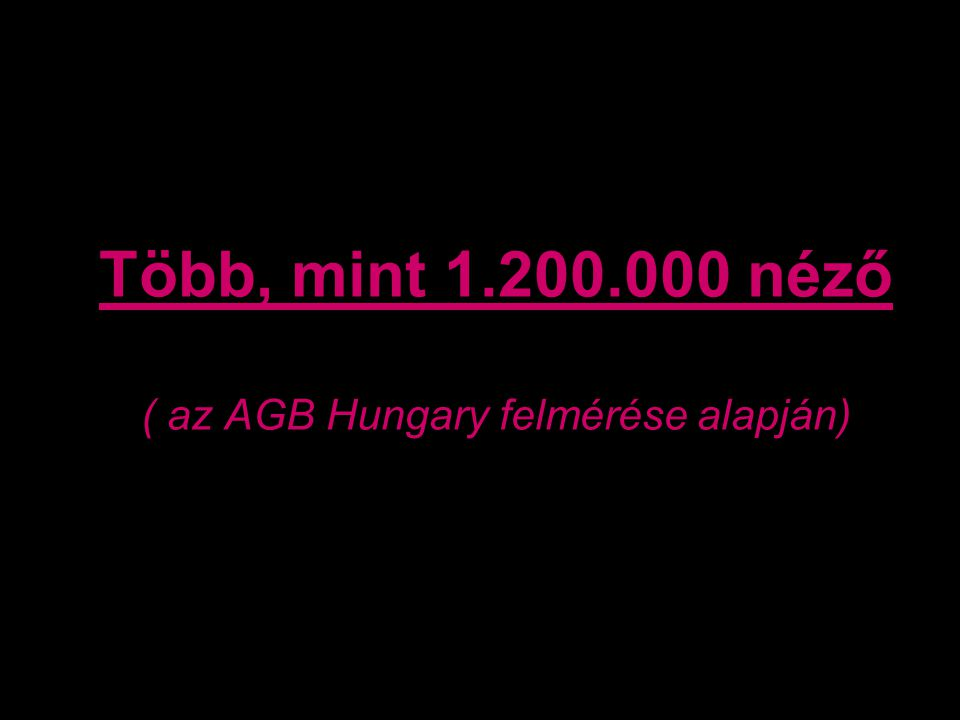 Több, mint 1.200.000 néző ( az AGB Hungary felmérése alapján)