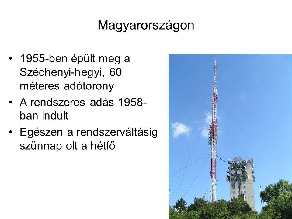 Magyarországon 1955-ben épült meg a Széchenyi-hegyi, 60 méteres adótorony A rendszeres adás 1958- ban indult Egészen a rendszerváltásig szünnap olt a
